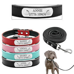 Personalized Leather Dog Collars and Leash Custom Pet Puppy Name Engraved Free $11.59