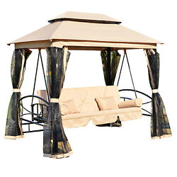 Patio Daybed Swing Canopy Gazebo Outdoor Furniture 3 Person Seat Chair Mesh Wall