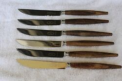 Vintage Mid Century George Butler Co. Wood Handle Steak Knives Sheffield England