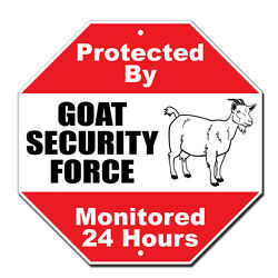 Protected By Goat Security Novelty Funny Metal Sign Octagon $14.99