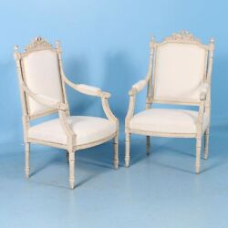 Pair of Antique White Gustavian Armchairs from Sweden circa 1840