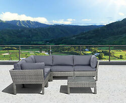 St.Croix 6 Pc Grey Synthetic Wicker Patio Seating Set With Grey Cushions