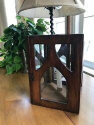 Antique Wooden Candle Lantern - Early American Primitive Colonial Style