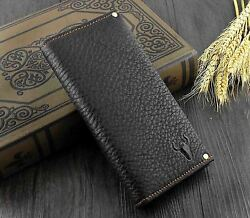 High Quality Retro Real Leather Men Card Holder Long Wallet Purse Simple Black