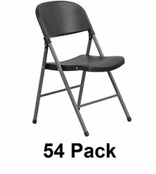 54-Pack Plastic Folding Chair Set Outdoor Party BBQ Chairs w Steel Frame -Black