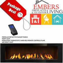 NAPOLEON LHD62 LINEAR GAS FIREPLACE MODERN BLACK SURROUND CALIFORNIA SUN BRICK