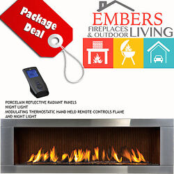 NAPOLEON LHD62 LINEAR GAS FIREPLACE MODERN STEEL SURROUND CALIFORNIA SUN BRICK