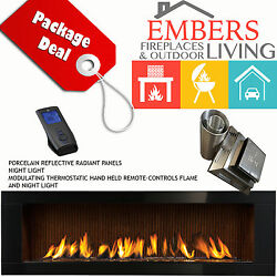 NAPOLEON LHD62 LINEAR GAS FIREPLACE MODERN BLACK SURROUND FLUTED BRICK VENT KIT