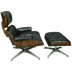 Mid-Century Modern Eames for Miller Style Lounge Chair and Ottoman circa 1960