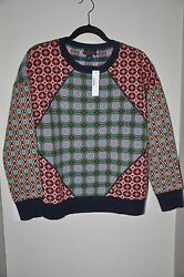 NWT JCREW Collection Cashmere Tile sweater in Moss Top Sz. Small