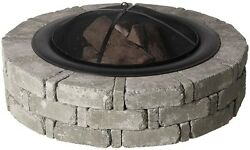 Large Round Concrete Fire Pit Kit with Screen Fireplace Outdoor Stone Circle
