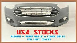 Fit 2013-2016 Ford Fusion Front Bumper +Upper & Lower Grilles + Fog Light Covers $299.99