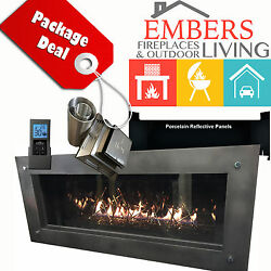 NAPOLEON LHD45 VECTOR MODERN LINEAR GAS FIREPLACE GRAY SURROUND NICKEL STIX