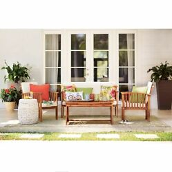 Modern Outdoor Furniture Patio Cushions Wood Garden Table And Chairs Lawn Porch