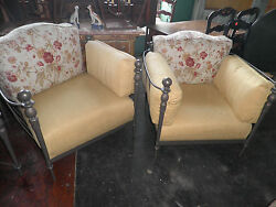 Pair Oversized Chairs w Matching Table Outdoor Furniture 3 pc Garden Set 356A