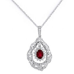 Created Ruby and VVS1 Fashion Pendant Necklace In 14K White Gold 18