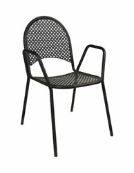 Black Net Mesh Wrought Iron Outdoor Patio Chair with Armrest Restaurant