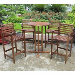 Outdoor Bistro Set Bar-Height Patio Furniture Dining Wood 3 Chairs With Table
