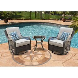Outdoor Rocking Chair Set With Table Patio Furniture Cushioned Silver Garden