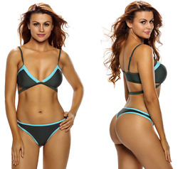 Sexy Two Piece Color Block Exotic Wrap Thong Bikini Swimwear Bathing Suit LG