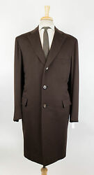 New. BRIONI Serio Brown Cashmere Full Length Coat Size 5646 R Drop 6 $8295
