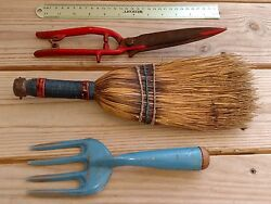 Antique  Vintage PAINTED METAL GARDENING TOOLS -