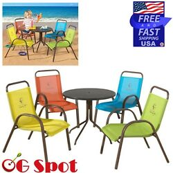 5-Piece Kids Outdoor Patio Furniture Garden Table and Chairs Deck Dining Set