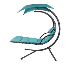 Outdoor Patio Chaise Lounge Chair Swing Hammock Cushion Porch Canopy Teal
