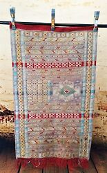 Moroccan Rugs & Textiles - Sabra Cactus Silk - Muted Multi Color 45 x 26 inches