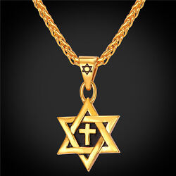 Star of David Cross Pendant amp; Necklace Chain christian Israel Jewish GOLD PLATED $22.95