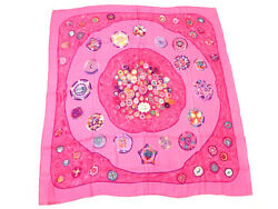 Hermes Carre 140 Scarf Stole Shawl Cashmere Silk Women Pink Sulfures Auth rare