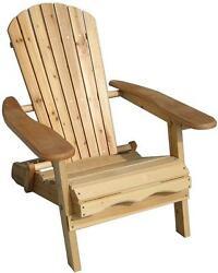 Garden Foldable Adirondack Chair Natural Finish Easy storage Free Shipping New