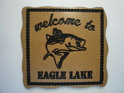 custom carved eagle lake signman caveshe shedshopdengaragewall art etc