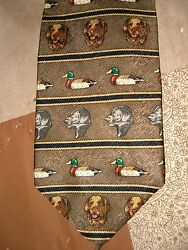 FIELD AND STREAM MENS TIE HUNTING DOGS AND DUCKS 100% SILK MADE IN USA NECK TIE