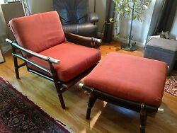Mid Century Modern Ficks Reed Rattan Lounge Chair and Matching Ottoman EamesMCM