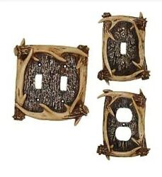 Rustic Light Switch Cover Plate Faux Antler Cabin Lodge Wall Decor Double Single