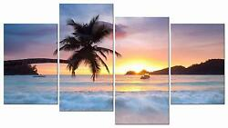 Wall Canvas Beach Palm Tree Sunrise Home Decor Framed Pictures 4 Piece New $56.13
