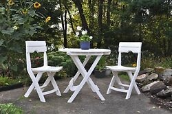 Patio Table Set 2 Chairs Folding Bistro Outdoor Cafe Garden Furniture White New