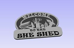 Sign Plaque SHE SHED woman cave Carved ready to paint