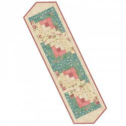 Welcome Home Fabric Collection Teal and Rose Log Cabin Table Runner Pre-Cut Kit