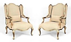 Pair of Louis XV Style Vintage Gilt Wing Form Open Arm Bergere Chairs