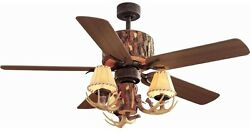 Ceiling Fan 52 Nutmeg Lodge Rustic Log Home Hunting Cabin Antler - NEW - NO TAX