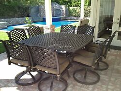 9 Piece for 8 Cast Aluminum Outdoor Patio Square Dining Set with Table