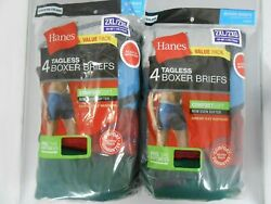 Hanes Mens Boxer Briefs 8-PACK SIZE 2XL 3XL Tagless Underwear Random Colors $23.99