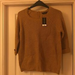 BNWT Dorothy Perkins Size 16 Mustard Yellow Chunky Knit Jumper Button Back
