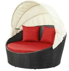 Outdoor Rattan Canopy Bed Patio Furniture Sun Lounge Lounger Daybed Pool Garden