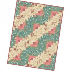 Welcome Home Teal and Rose 12 Block Log Cabin Quilt Precut Kit at 29