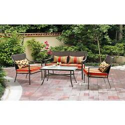 4 Piece Patio Dining Set Chairs Table Outdoor Garden Furniture Yard Modern Seats