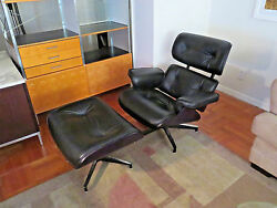 Herman Miller Eames Lounge Chair and Ottoman - Ebony Ash Shell  Black Leather