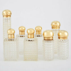 Asprey 18K Gold  and Glass Perfume Bottles Set of Set of Eight